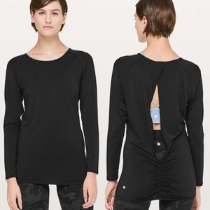 Lululemon Black Deep Stretch Open Back Long Sleeve